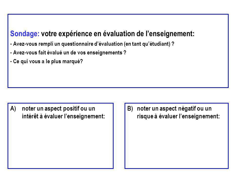 Sondage: votre expérience en évaluation de lenseignement: - Avez-vous rempli un questionnaire dévaluation (en tant quétudiant) ? - Avez-vous fait éval