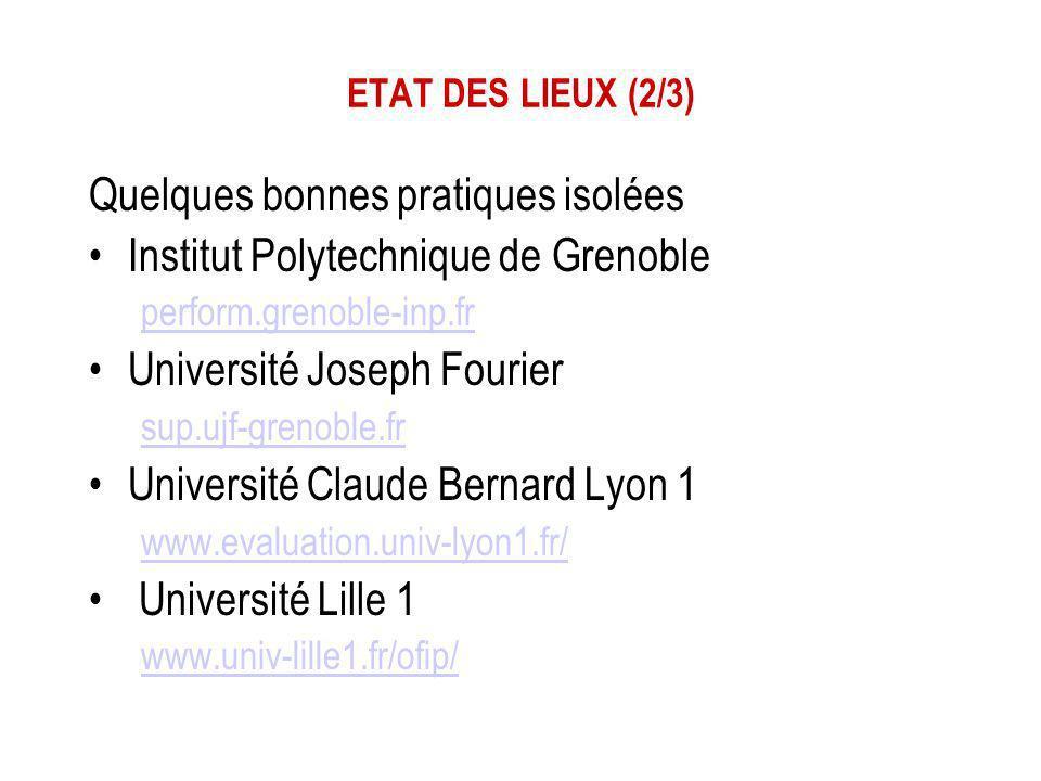 ETAT DES LIEUX (2/3) Quelques bonnes pratiques isolées Institut Polytechnique de Grenoble perform.grenoble-inp.fr Université Joseph Fourier sup.ujf-gr