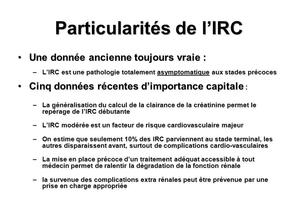 Particularités de lIRC Une donnée ancienne toujours vraie :Une donnée ancienne toujours vraie : –LIRC est une pathologie totalement asymptomatique aux