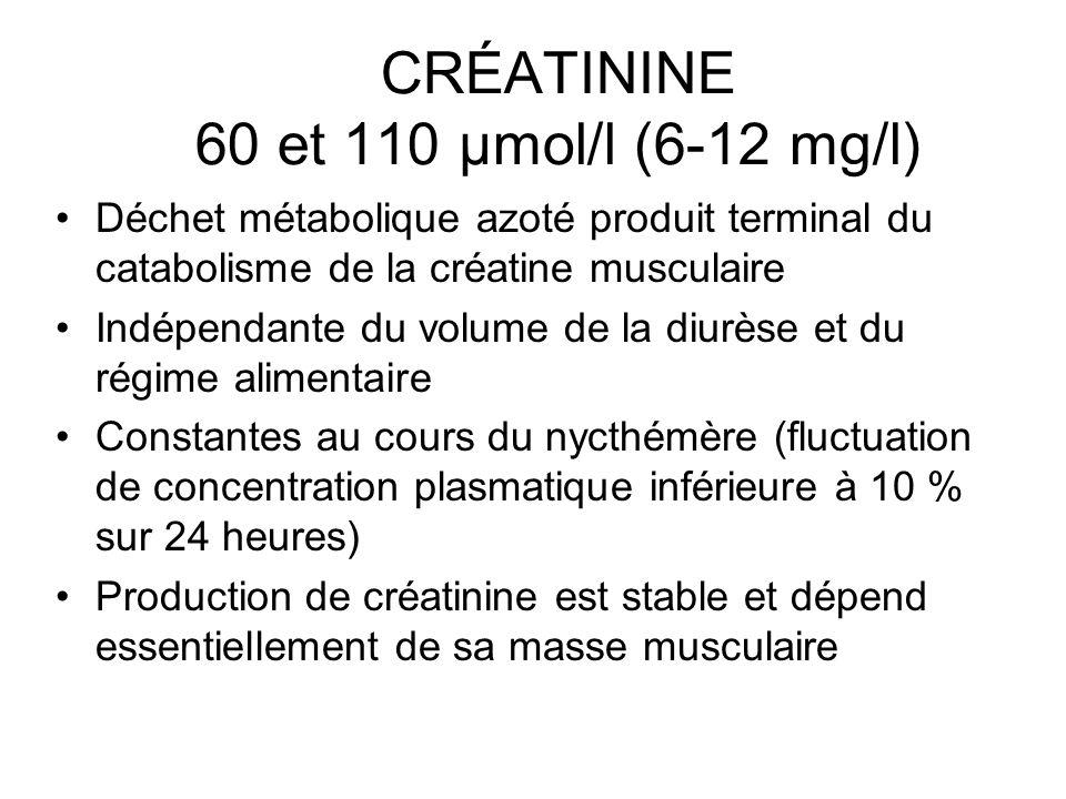 CRÉATININE 60 et 110 µmol/l (6-12 mg/l) Déchet métabolique azoté produit terminal du catabolisme de la créatine musculaire Indépendante du volume de l