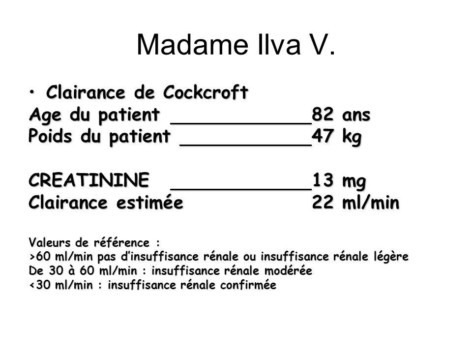 Madame Ilva V. Clairance de CockcroftClairance de Cockcroft Age du patient 82 ans Poids du patient 47 kg CREATININE13 mg Clairance estimée22 ml/min Va