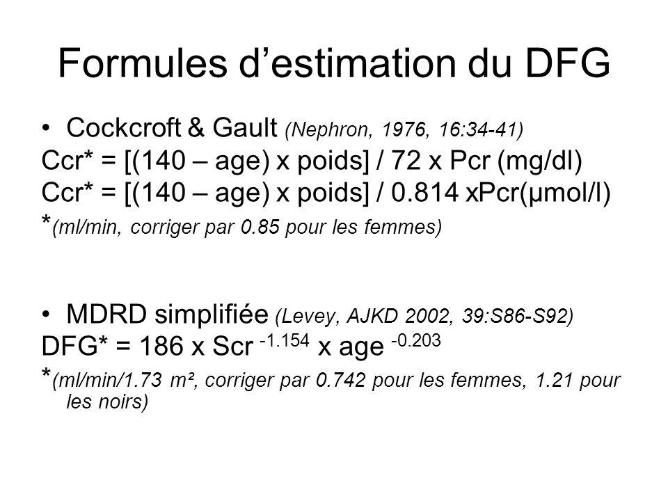 Formules destimation du DFG Cockcroft & Gault (Nephron, 1976, 16:34-41) Ccr* = [(140 – age) x poids] / 72 x Pcr (mg/dl) Ccr* = [(140 – age) x poids] /
