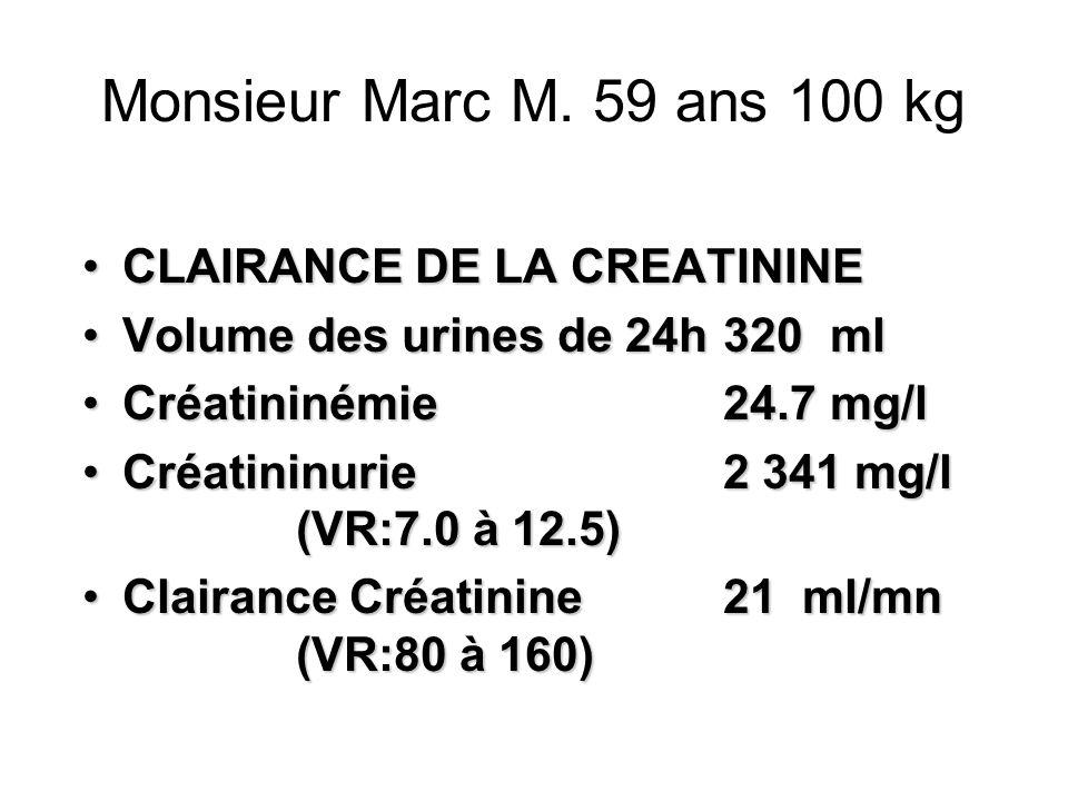 Monsieur Marc M. 59 ans 100 kg CLAIRANCE DE LA CREATININECLAIRANCE DE LA CREATININE Volume des urines de 24h320mlVolume des urines de 24h320ml Créatin