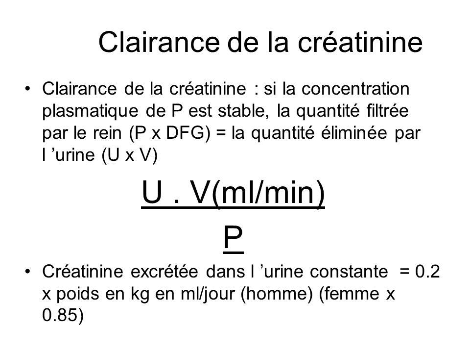 Clairance de la créatinine : si la concentration plasmatique de P est stable, la quantité filtrée par le rein (P x DFG) = la quantité éliminée par l u