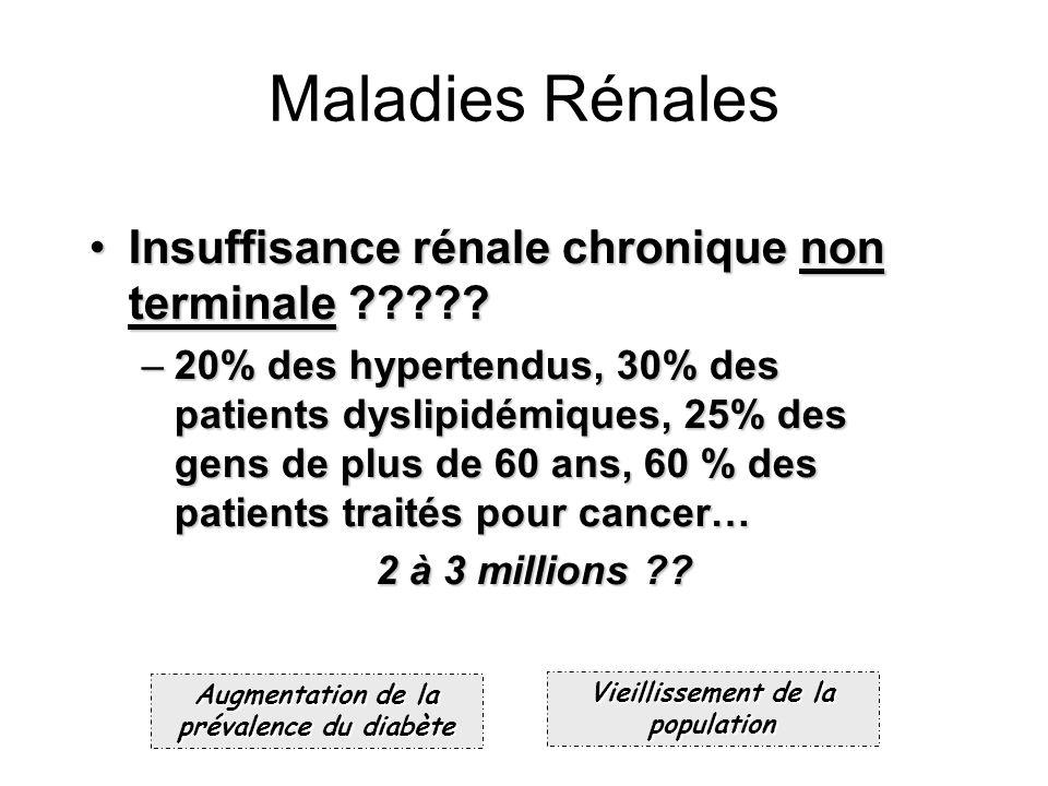 Maladies Rénales Insuffisance rénale chronique non terminale ?????Insuffisance rénale chronique non terminale ????? –20% des hypertendus, 30% des pati