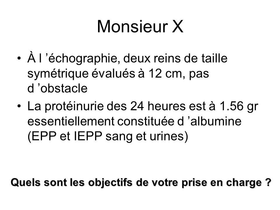 Monsieur X À l échographie, deux reins de taille symétrique évalués à 12 cm, pas d obstacle La protéinurie des 24 heures est à 1.56 gr essentiellement