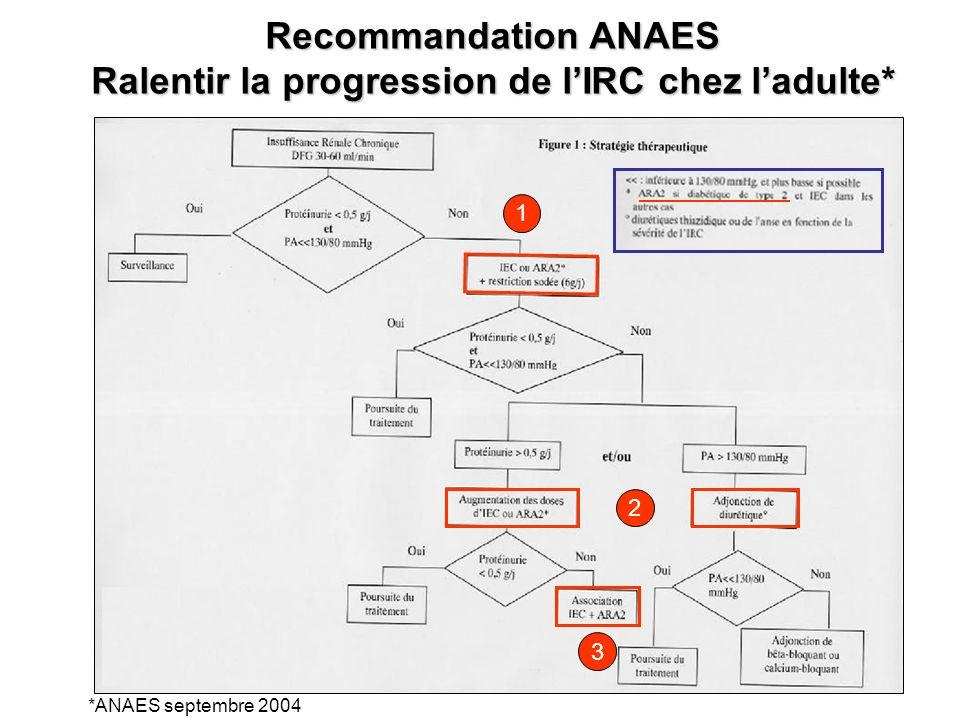 Recommandation ANAES Ralentir la progression de lIRC chez ladulte* *ANAES septembre 2004 1 2 3
