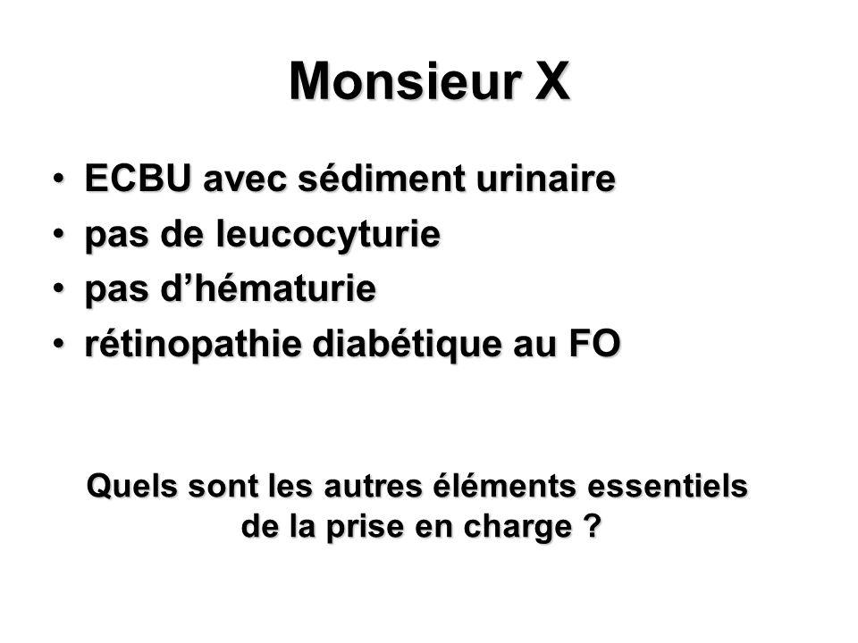 Monsieur X ECBU avec sédiment urinaireECBU avec sédiment urinaire pas de leucocyturiepas de leucocyturie pas dhématuriepas dhématurie rétinopathie dia