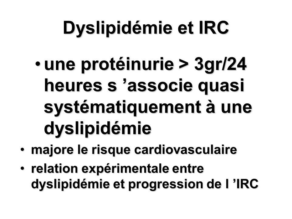 Dyslipidémie et IRC une protéinurie > 3gr/24 heures s associe quasi systématiquement à une dyslipidémieune protéinurie > 3gr/24 heures s associe quasi