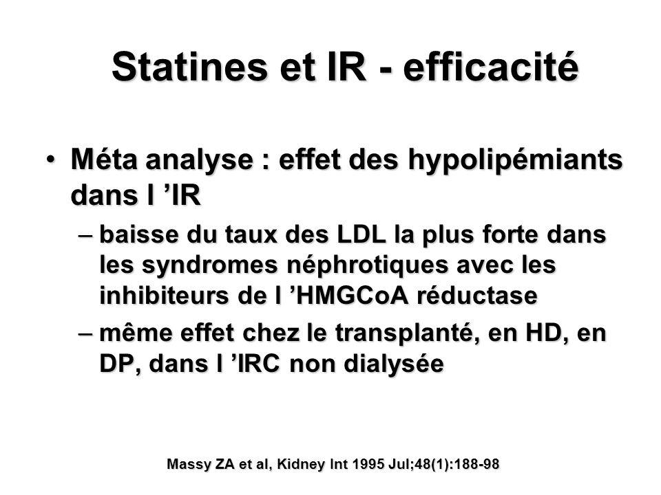 Statines et IR - efficacité Méta analyse : effet des hypolipémiants dans l IRMéta analyse : effet des hypolipémiants dans l IR –baisse du taux des LDL