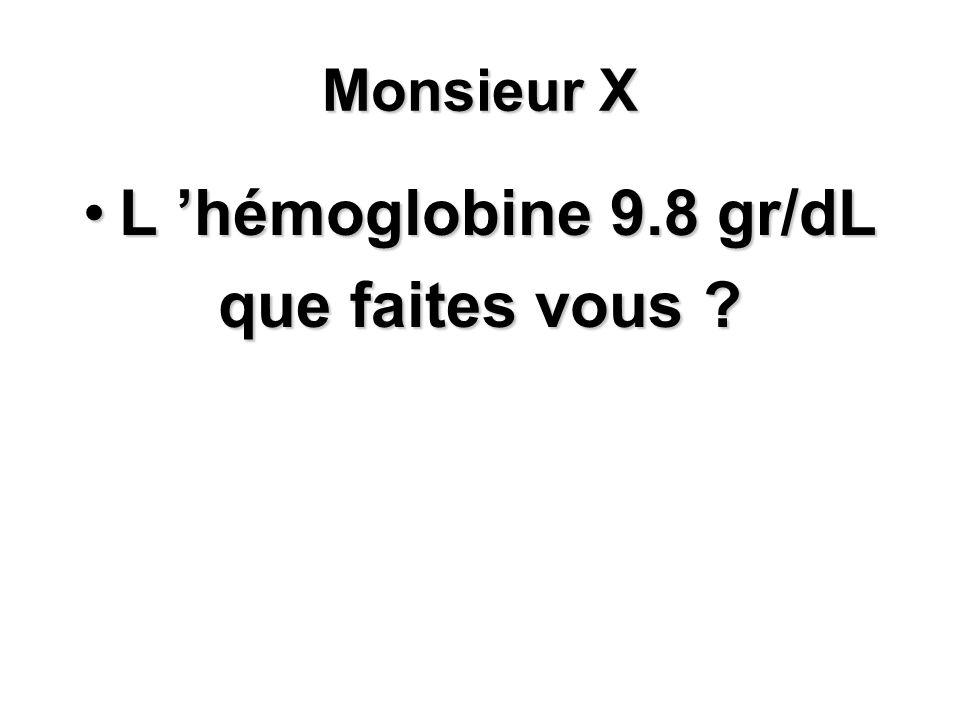 Monsieur X L hémoglobine 9.8 gr/dLL hémoglobine 9.8 gr/dL que faites vous ?