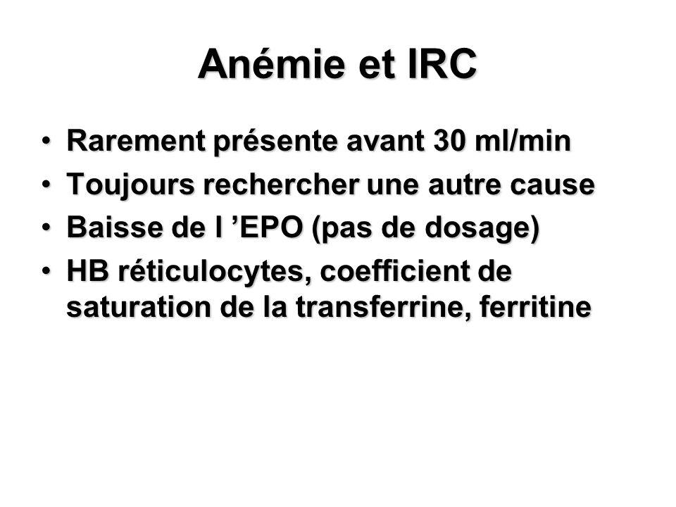 Anémie et IRC Rarement présente avant 30 ml/minRarement présente avant 30 ml/min Toujours rechercher une autre causeToujours rechercher une autre caus