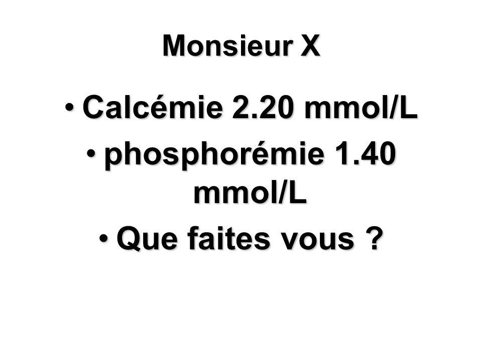 Monsieur X Calcémie 2.20 mmol/LCalcémie 2.20 mmol/L phosphorémie 1.40 mmol/Lphosphorémie 1.40 mmol/L Que faites vous ?Que faites vous ?