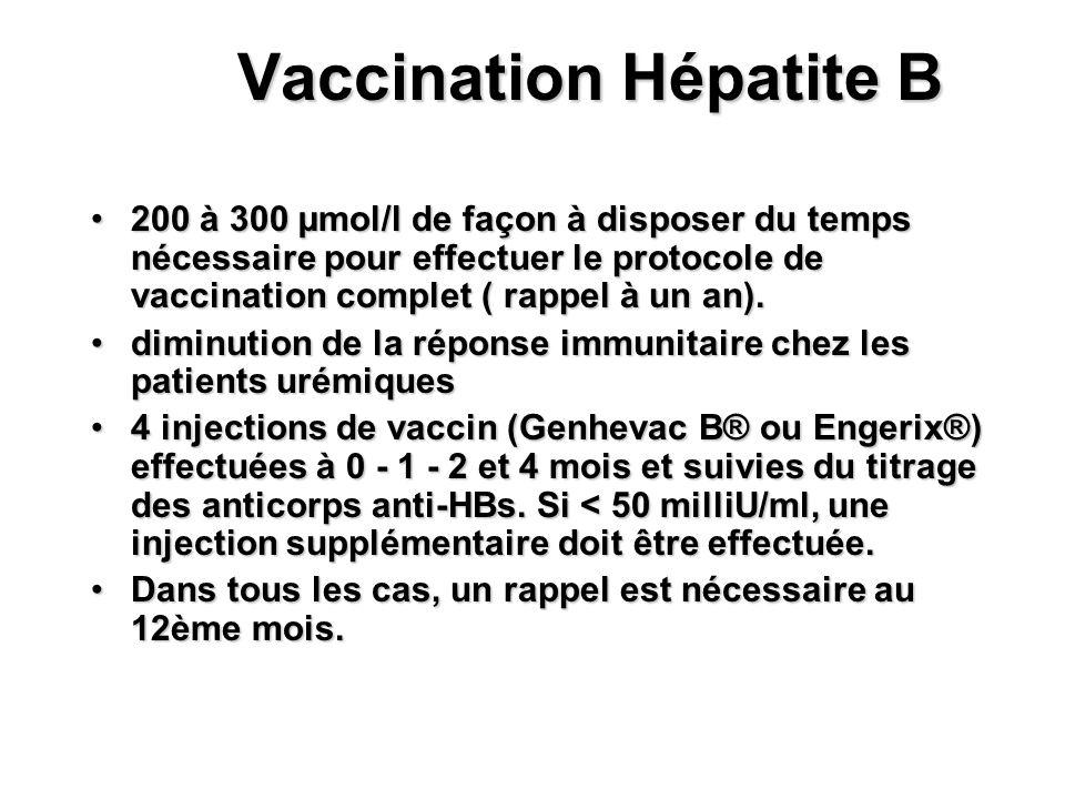 Vaccination Hépatite B 200 à 300 µmol/l de façon à disposer du temps nécessaire pour effectuer le protocole de vaccination complet ( rappel à un an).2