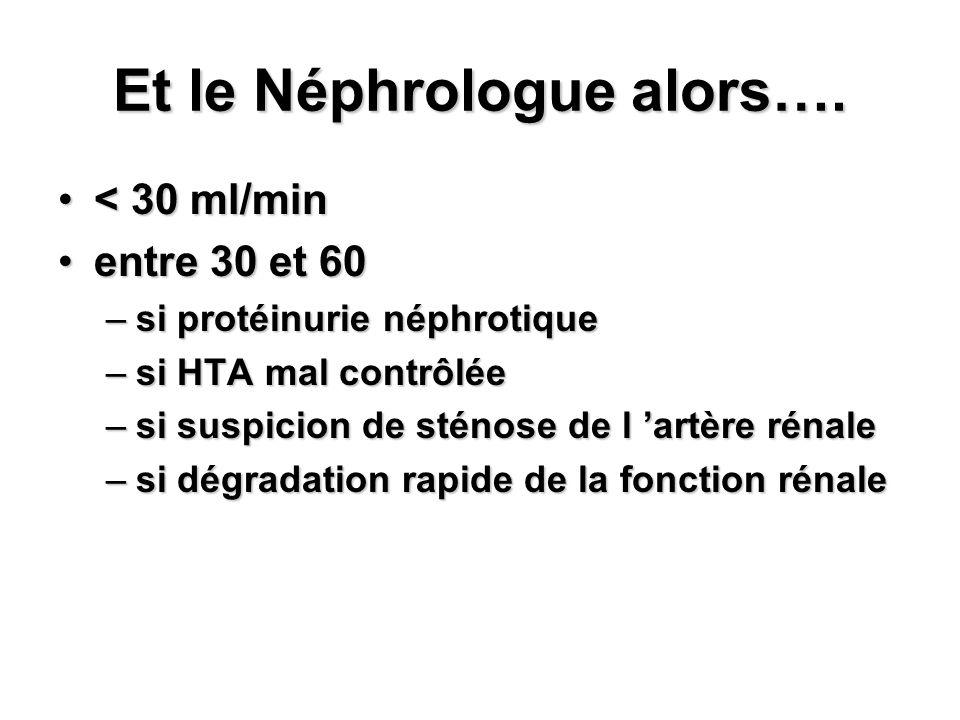 Et le Néphrologue alors…. < 30 ml/min< 30 ml/min entre 30 et 60entre 30 et 60 –si protéinurie néphrotique –si HTA mal contrôlée –si suspicion de sténo