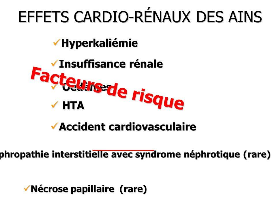 EFFETS CARDIO-RÉNAUX DES AINS Nécrose papillaire (rare) Nécrose papillaire (rare) Néphropathie interstitielle avec syndrome néphrotique (rare) Néphrop