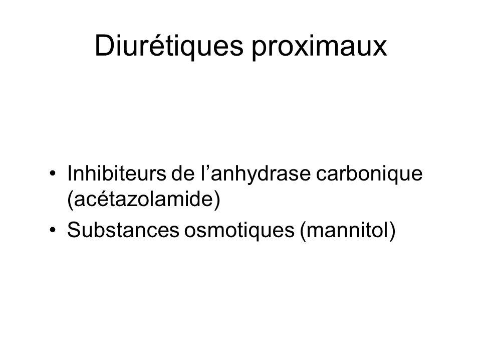 Diurétiques proximaux Inhibiteurs de lanhydrase carbonique (acétazolamide) Substances osmotiques (mannitol)