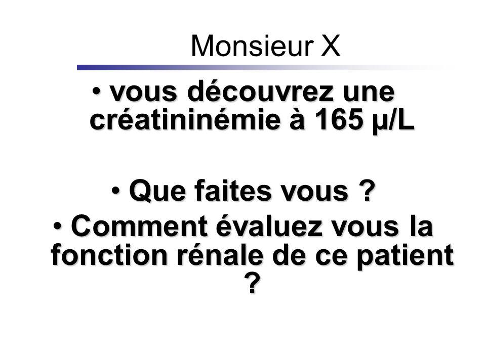 Monsieur X vous découvrez une créatininémie à 165 µ/Lvous découvrez une créatininémie à 165 µ/L Que faites vous ?Que faites vous ? Comment évaluez vou