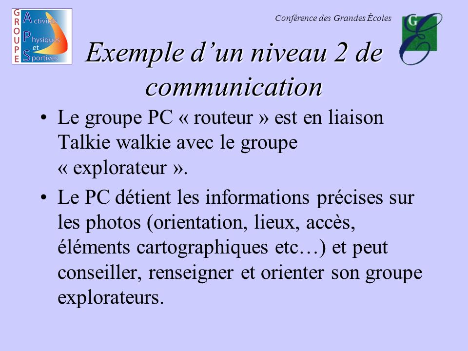Conférence des Grandes Écoles Exemple dun niveau 2 de communication Le groupe PC « routeur » est en liaison Talkie walkie avec le groupe « explorateur
