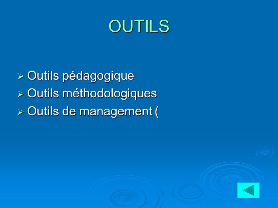 OUTILS Outils pédagogique Outils pédagogique Outils méthodologiques Outils méthodologiques Outils de management ( Outils de management (