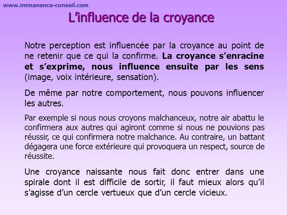 www.immanence-conseil.com Croyances conscientes et inconscientes Une croyance peut avoir une dimension consciente ou inconsciente et elle peut toucher