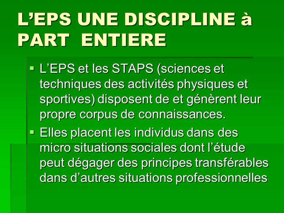 LEPS UNE DISCIPLINE à PART ENTIERE LEPS et les STAPS (sciences et techniques des activités physiques et sportives) disposent de et génèrent leur propre corpus de connaissances.