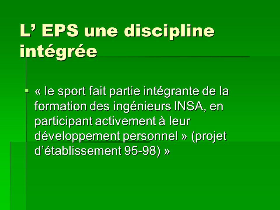 L EPS une discipline intégrée « le sport fait partie intégrante de la formation des ingénieurs INSA, en participant activement à leur développement personnel » (projet détablissement 95-98) » « le sport fait partie intégrante de la formation des ingénieurs INSA, en participant activement à leur développement personnel » (projet détablissement 95-98) »