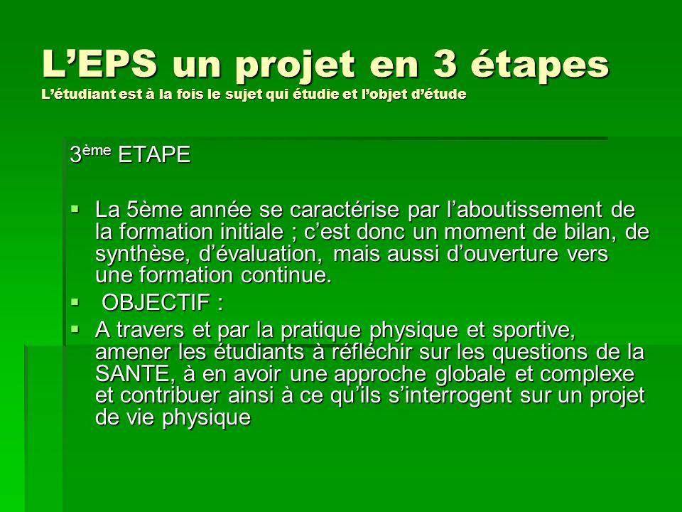 LEPS un projet en 3 étapes Létudiant est à la fois le sujet qui étudie et lobjet détude 3 ème ETAPE La 5ème année se caractérise par laboutissement de
