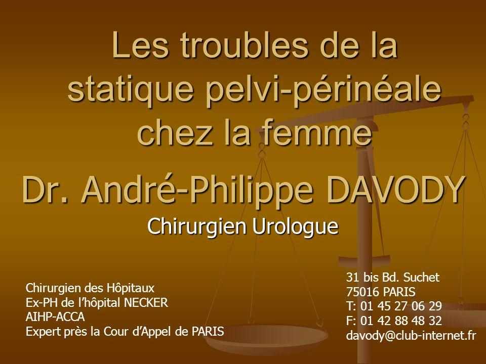 Les troubles de la statique pelvi-périnéale chez la femme Dr. André-Philippe DAVODY Chirurgien Urologue Chirurgien des Hôpitaux Ex-PH de lhôpital NECK