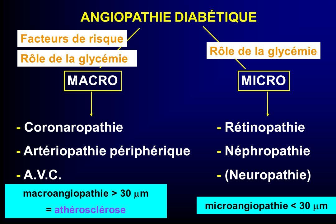 ANGIOPATHIE DIABÉTIQUE - Coronaropathie - Artériopathie périphérique - A.V.C. MACRO - Rétinopathie - Néphropathie - (Neuropathie) MICRO microangiopath
