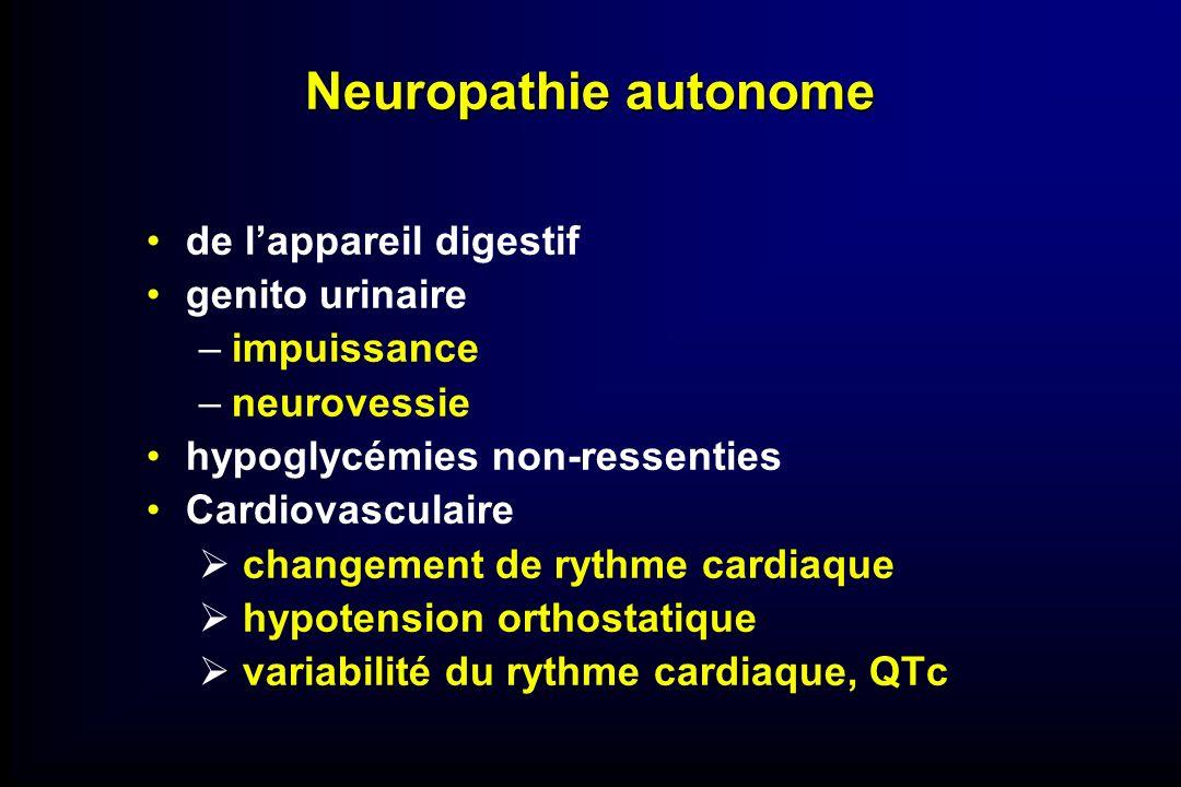 Neuropathie autonome de lappareil digestif genito urinaire –impuissance –neurovessie hypoglycémies non-ressenties Cardiovasculaire changement de rythm