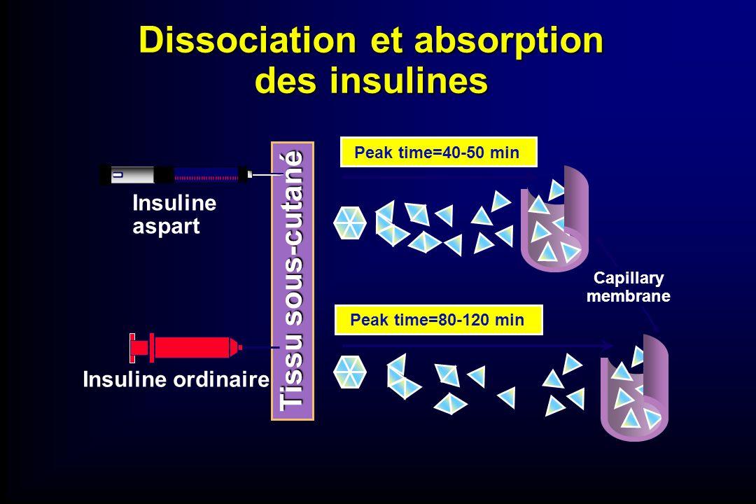 Dissociation et absorption des insulines Insuline aspart Insuline ordinaire Peak time=80-120 min Peak time=40-50 min Capillary membrane Tissu sous-cut