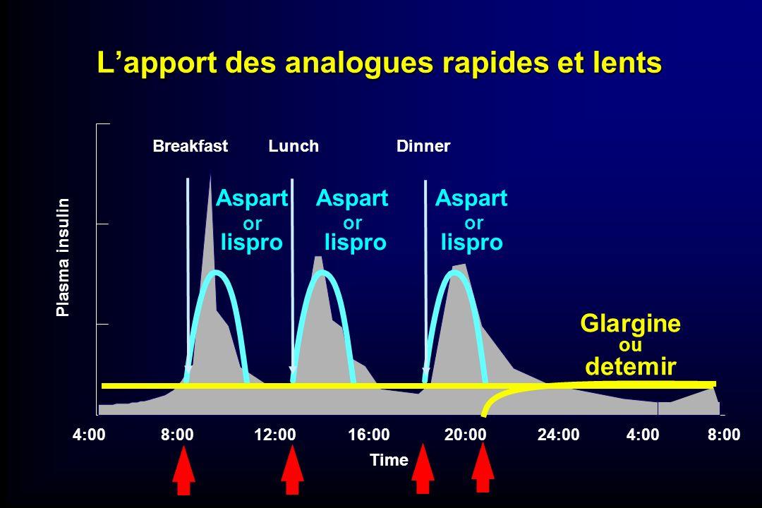 4:0016:0020:0024:004:00 BreakfastLunchDinner 8:00 12:008:00 Time Glargine ou detemir lispro lispro lispro Aspart Aspart Aspart or Plasma insulin Lappo