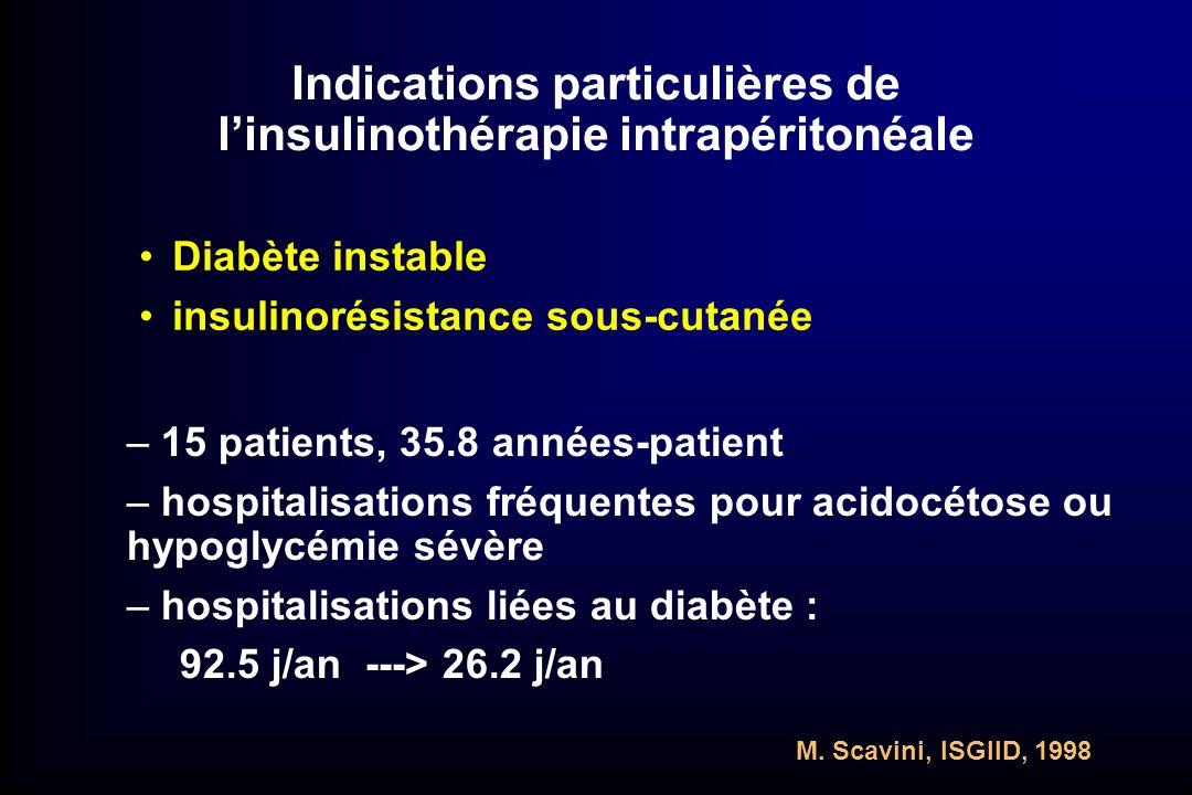 Indications particulières de linsulinothérapie intrapéritonéale Diabète instable insulinorésistance sous-cutanée – 15 patients, 35.8 années-patient –
