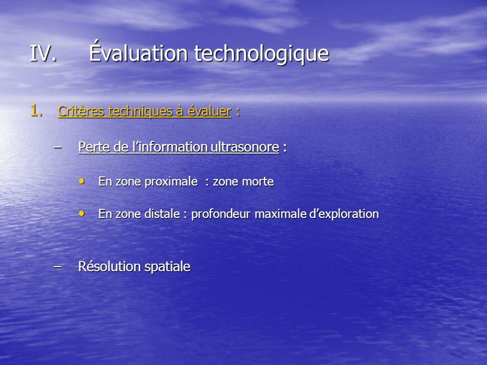 1. Critères techniques à évaluer : –Perte de linformation ultrasonore : En zone proximale : zone morte En zone proximale : zone morte En zone distale