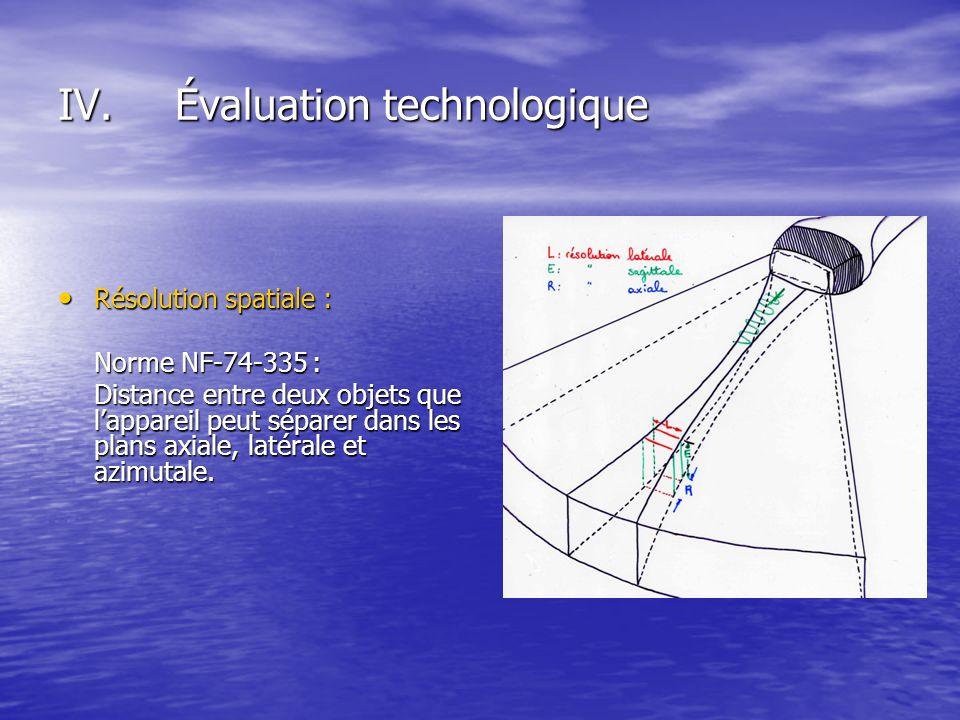 IV.Évaluation technologique Résolution spatiale : Résolution spatiale : Norme NF-74-335 : Distance entre deux objets que lappareil peut séparer dans l