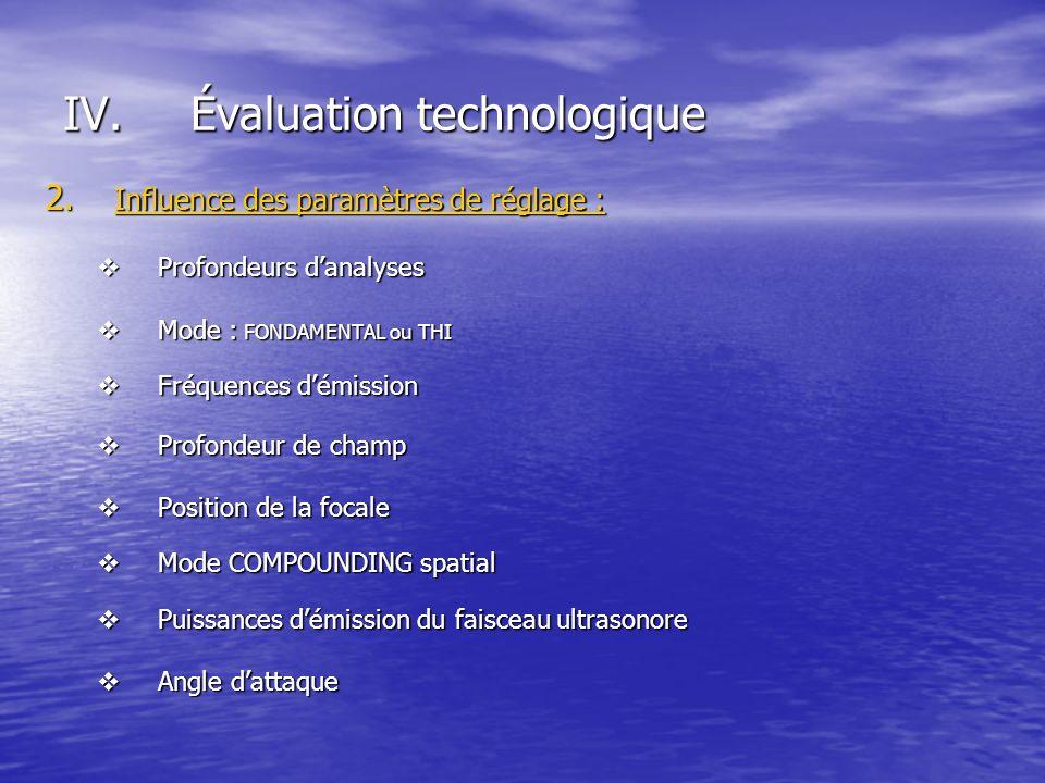 IV.Évaluation technologique 2. Influence des paramètres de réglage : Profondeurs danalyses Profondeurs danalyses Mode : FONDAMENTAL ou THI Mode : FOND