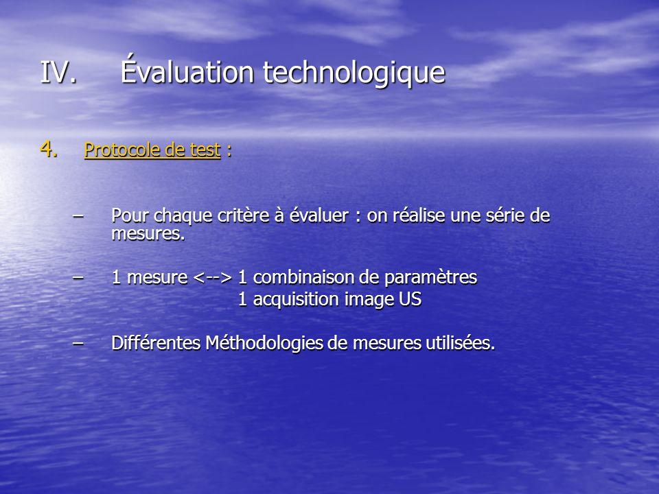 4. Protocole de test : –Pour chaque critère à évaluer : on réalise une série de mesures. –1 mesure 1 combinaison de paramètres 1 acquisition image US
