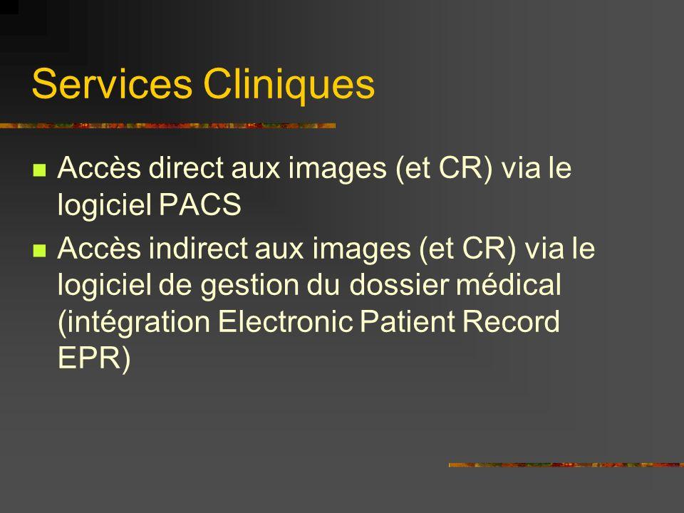 Services Cliniques Accès direct aux images (et CR) via le logiciel PACS Accès indirect aux images (et CR) via le logiciel de gestion du dossier médical (intégration Electronic Patient Record EPR)