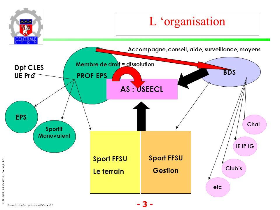 3-KKI-GCP1.2-PSO-0201-F - Copyright ECL Boussole des Compétences UE-Pro - v3.1 - 3 - L organisation PROF EPS Dpt CLES UE Pro EPS Sportif Monovalent Sp