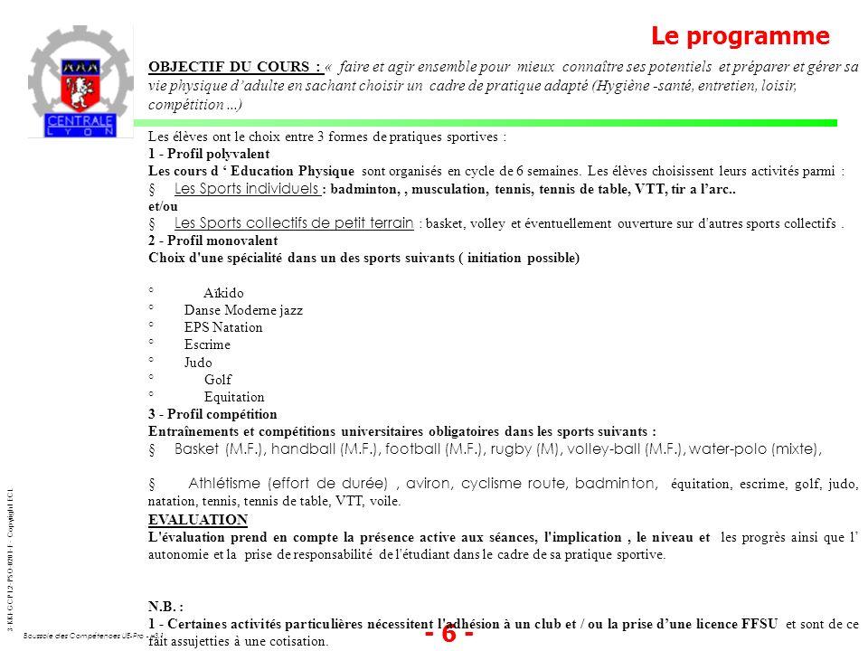 3-KKI-GCP1.2-PSO-0201-F - Copyright ECL Boussole des Compétences UE-Pro - v3.1 - 6 - Le programme OBJECTIF DU COURS : « faire et agir ensemble pour mi