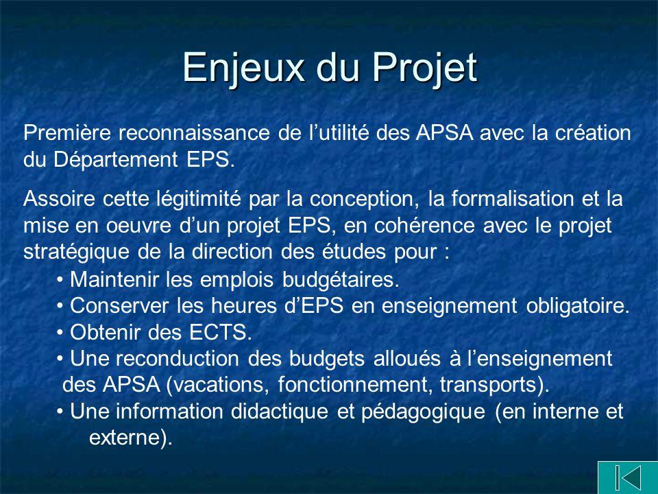 Enjeux du Projet Première reconnaissance de lutilité des APSA avec la création du Département EPS.