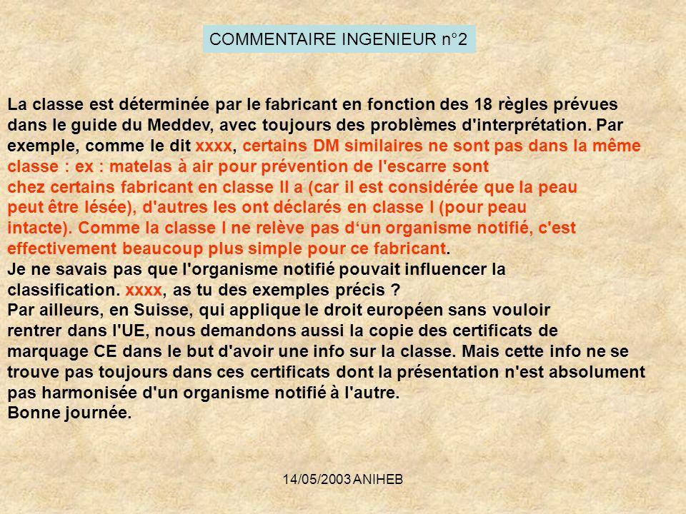 14/05/2003 ANIHEB COMMENTAIRE INGENIEUR n°2 La classe est déterminée par le fabricant en fonction des 18 règles prévues dans le guide du Meddev, avec