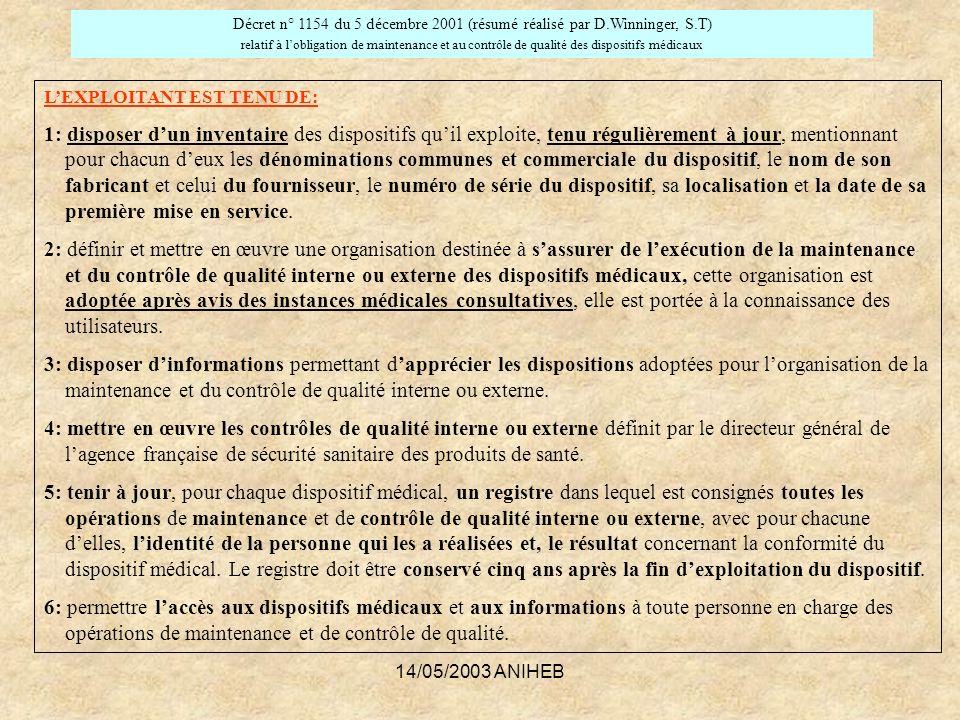 14/05/2003 ANIHEB LEXPLOITANT EST TENU DE: 1: disposer dun inventaire des dispositifs quil exploite, tenu régulièrement à jour, mentionnant pour chacu