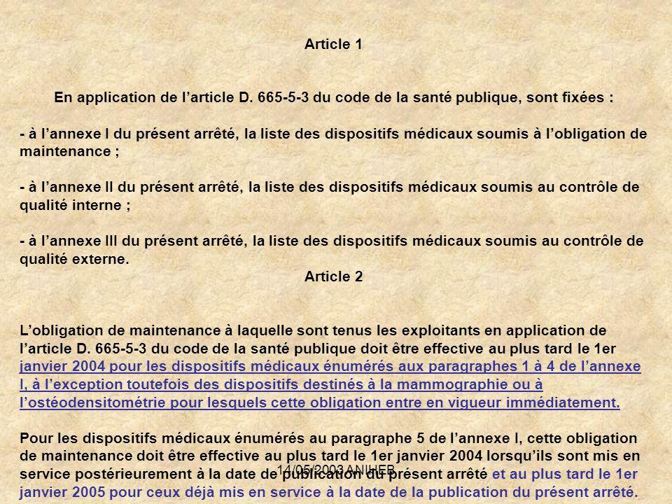 14/05/2003 ANIHEB Article 1 En application de larticle D. 665-5-3 du code de la santé publique, sont fixées : - à lannexe I du présent arrêté, la list