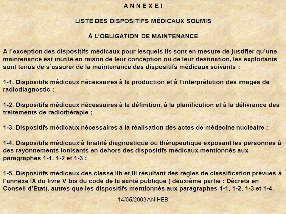 14/05/2003 ANIHEB A N N E X E I LISTE DES DISPOSITIFS MÉDICAUX SOUMIS À LOBLIGATION DE MAINTENANCE A lexception des dispositifs médicaux pour lesquels