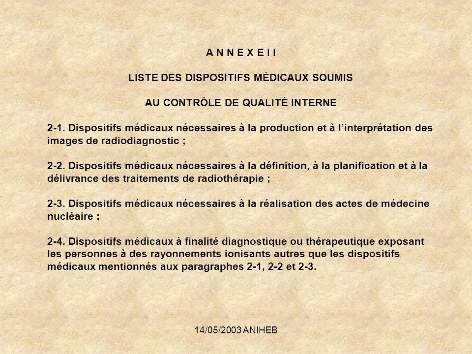 14/05/2003 ANIHEB A N N E X E I I LISTE DES DISPOSITIFS MÉDICAUX SOUMIS AU CONTRÔLE DE QUALITÉ INTERNE 2-1. Dispositifs médicaux nécessaires à la prod