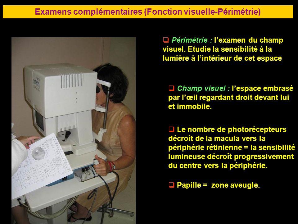 75 Examens complémentaires (Fonction visuelle-Périmétrie) Périmétrie : lexamen du champ visuel. Etudie la sensibilité à la lumière à lintérieur de cet