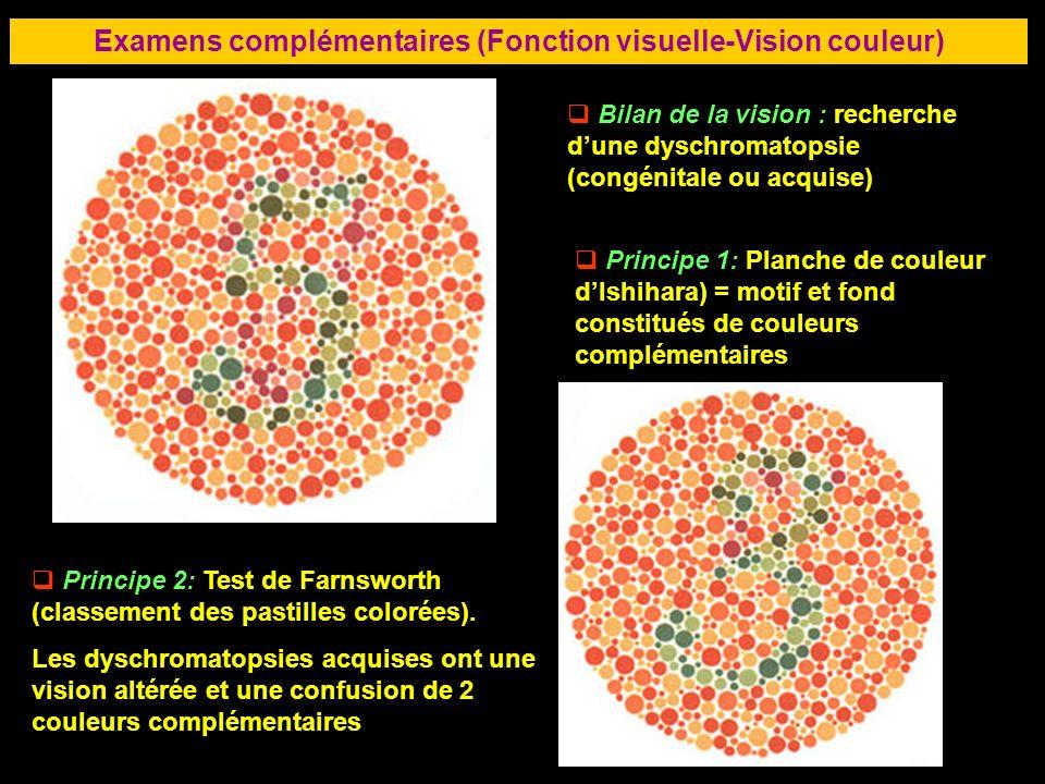 77 Examens complémentaires (Fonction visuelle-Vision couleur) Bilan de la vision : recherche dune dyschromatopsie (congénitale ou acquise) Principe 1: