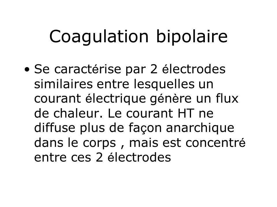 Coagulation bipolaire Se caract é rise par 2 é lectrodes similaires entre lesquelles un courant é lectrique g é n è re un flux de chaleur. Le courant